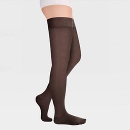 Transparent translucent closed-toe stockings with simple silicone-based elastic band for wide thigh ID-300TW