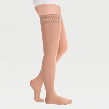 Чулки с ажурной резинкой на силиконовой основе с закрытым носком на широкое бедро ID-301W